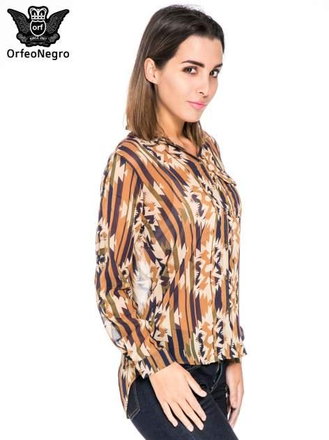 Khaki koszula w etniczne wzory z kieszonką                                  zdj.                                  3