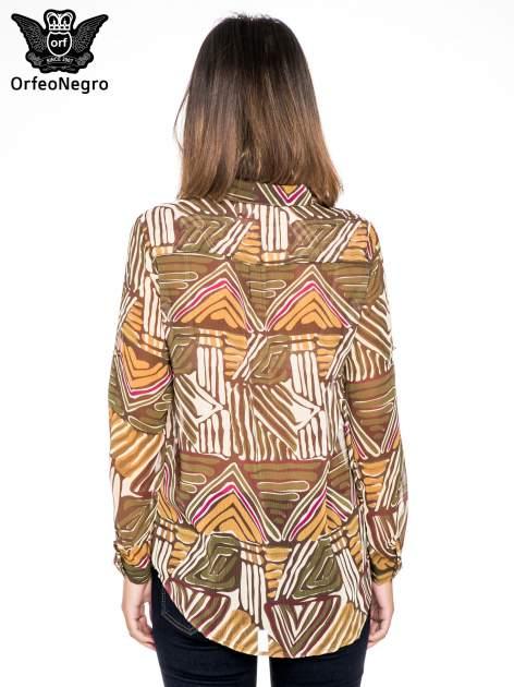 Khaki koszula w kolorowe zygzaki                                  zdj.                                  2