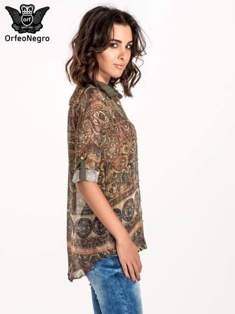 Khaki koszula w witrażowy wzór                                  zdj.                                  5