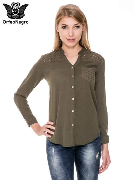 Khaki koszula z ażurowaniem na górze i kieszonką