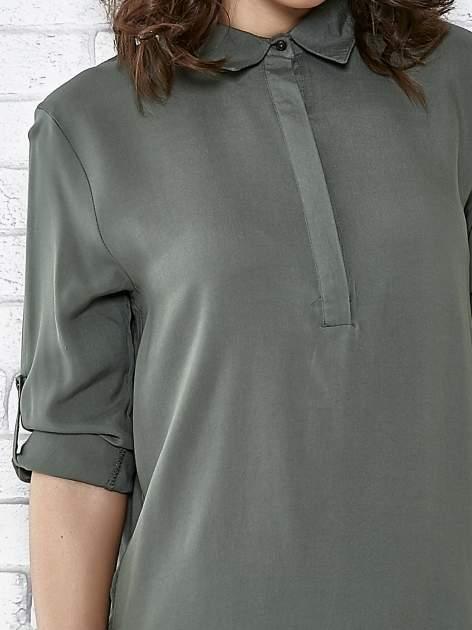 Khaki koszulotunika z rozcięciami                                  zdj.                                  5