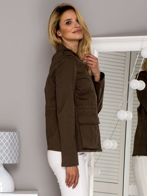 Khaki kurtka z kieszeniami                              zdj.                              3