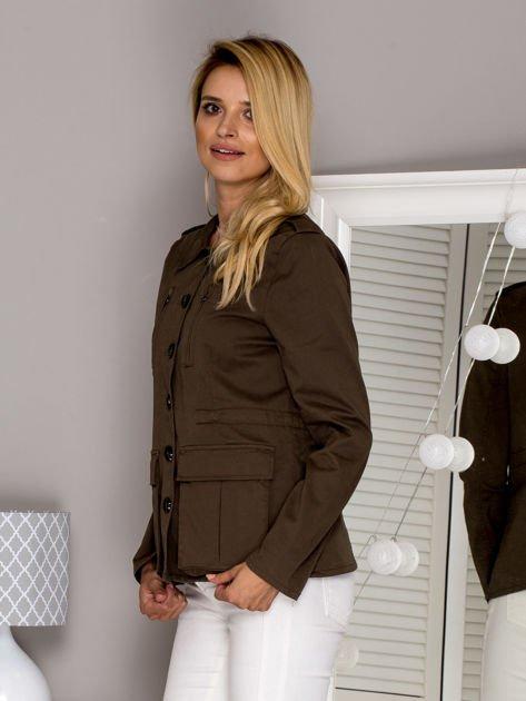 Khaki kurtka z kieszeniami                              zdj.                              5
