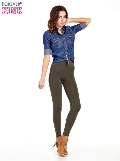 Khaki legginsy basic z lekkim ociepleniem                                  zdj.                                  2