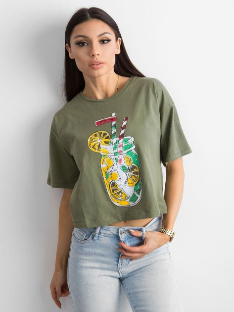 Khaki luźny t-shirt z nadrukiem                              zdj.                              1