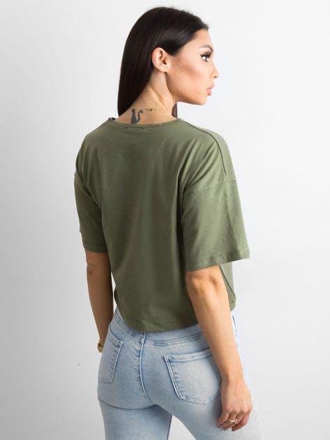 Khaki luźny t-shirt z nadrukiem                              zdj.                              2