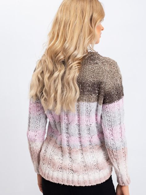 Khaki-różowy sweter Amelia                              zdj.                              2