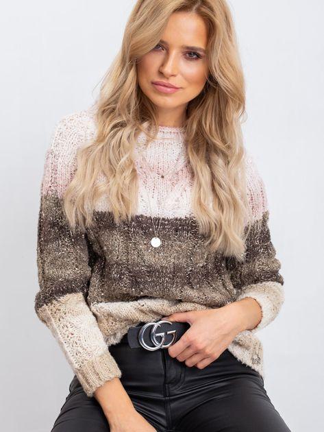 Khaki-różowy sweter Florine                              zdj.                              5