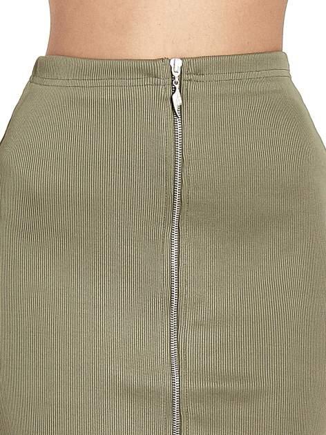 Khaki spódnica midi z suwakiem z przodu                                  zdj.                                  5