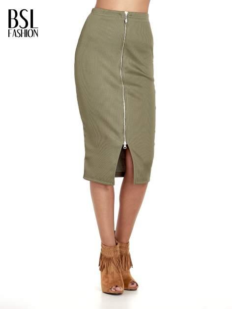 Khaki spódnica midi z suwakiem z przodu                                  zdj.                                  1