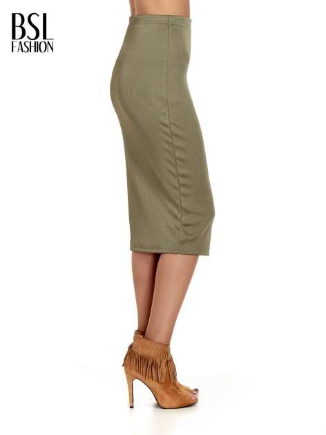 Khaki spódnica midi z suwakiem z przodu                                  zdj.                                  3
