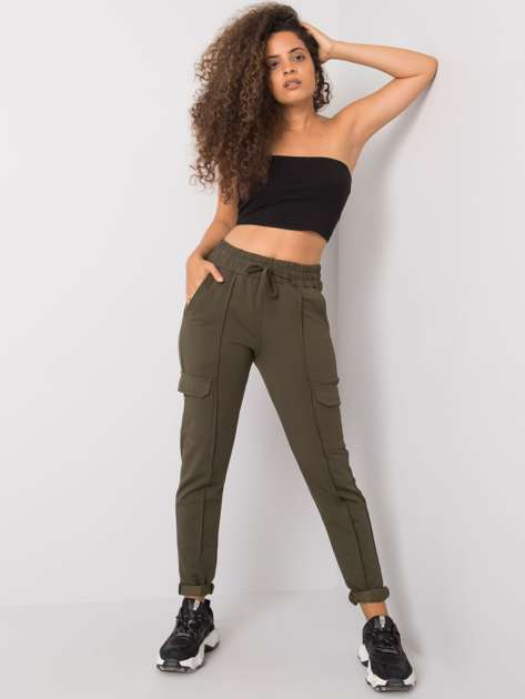 Khaki spodnie dresowe z kieszeniami Despina RUE PARIS
