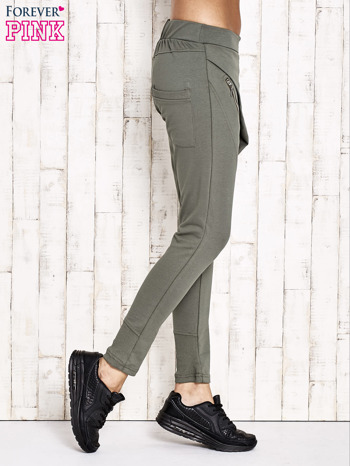 Khaki spodnie dresowe z suwakami                                  zdj.                                  2