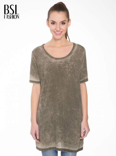 Khaki sukienka typu t-shirt bluzka z efektem dekatyzowania
