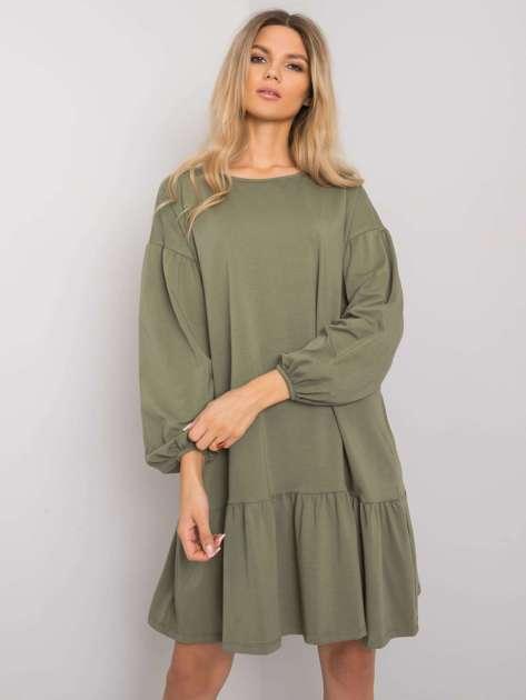 Khaki sukienka z falbaną Shadia
