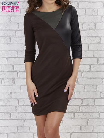 Khaki sukienka z trójkątnym wykończeniem                                  zdj.                                  1