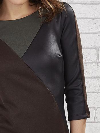 Khaki sukienka z trójkątnym wykończeniem                                  zdj.                                  5