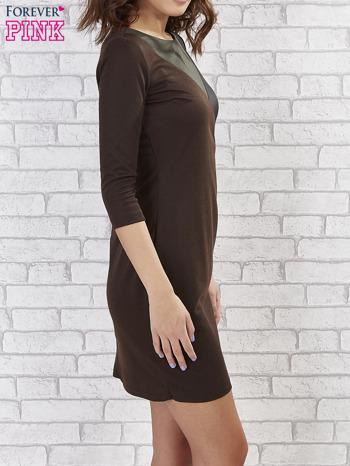 Khaki sukienka z trójkątnym wykończeniem                                  zdj.                                  3