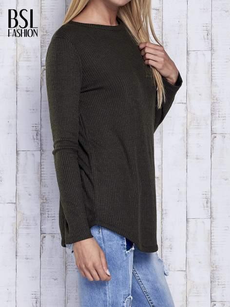 Khaki sweter w prążki                                  zdj.                                  4