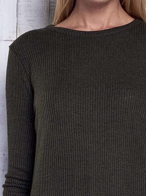Khaki sweter w prążki                                  zdj.                                  6
