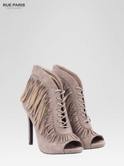 Khaki sznurowane botki faux suede Lea open toe z frędzlami