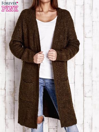 Khaki wełniany sweter bouclé z kieszeniami