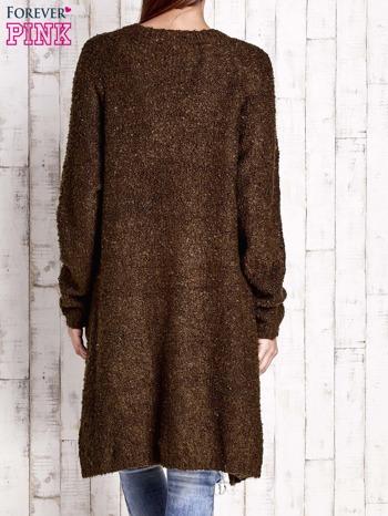 Khaki wełniany sweter bouclé z kieszeniami                                  zdj.                                  4