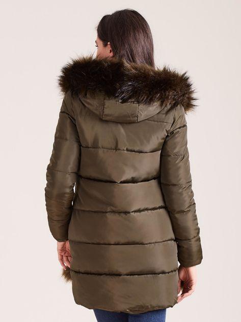 Khaki zimowa kurtka damska z futerkiem                              zdj.                              2