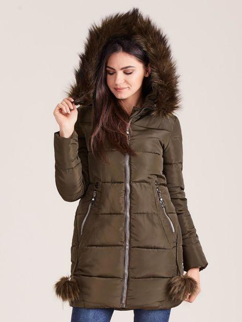 Khaki zimowa kurtka damska z futerkiem                              zdj.                              5
