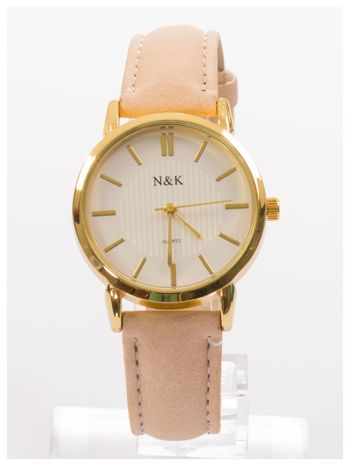 Klasyczny damski zegarek z dyskretnym wzorem na tarczy. Bardzo zgrabny. Delikatny i kobiecy.                                  zdj.                                  1