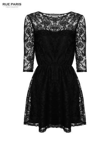 Kloszowana sukienka pokryta na górze czarną przezroczystą koronką                                  zdj.                                  1