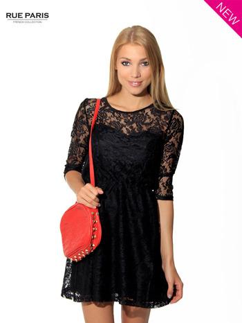 Kloszowana sukienka pokryta na górze czarną przezroczystą koronką                                  zdj.                                  2