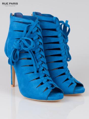 Kobaltowe sznurowane botki faux suede Eleonore lace up z zamkiem                                  zdj.                                  2