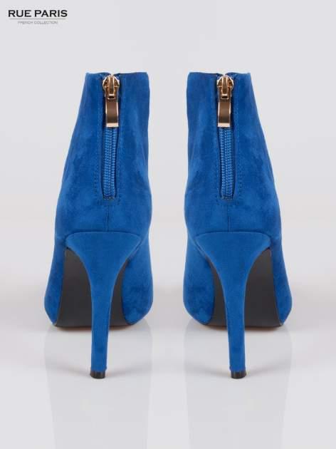 Kobaltowe sznurowane botki faux suede Kendall lace up open toe z zamkiem                                  zdj.                                  3