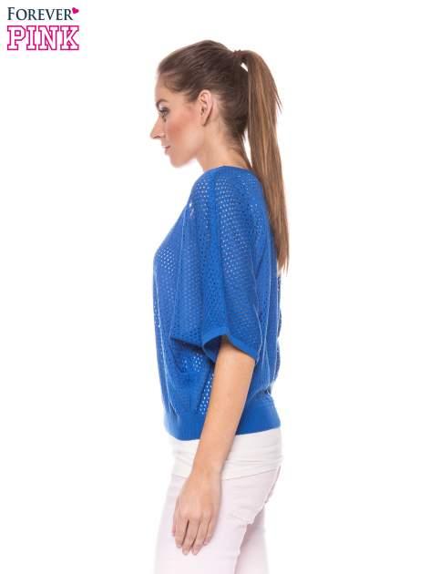 Kobaltowy siateczkowy sweter oversize                                  zdj.                                  2