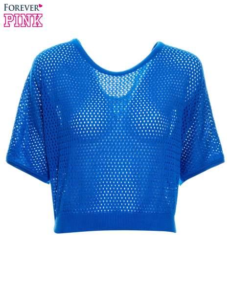 Kobaltowy siateczkowy sweter oversize                                  zdj.                                  4