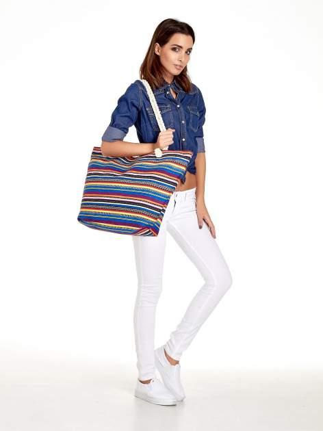 Kolorowa torba plażowa w paski                                  zdj.                                  2