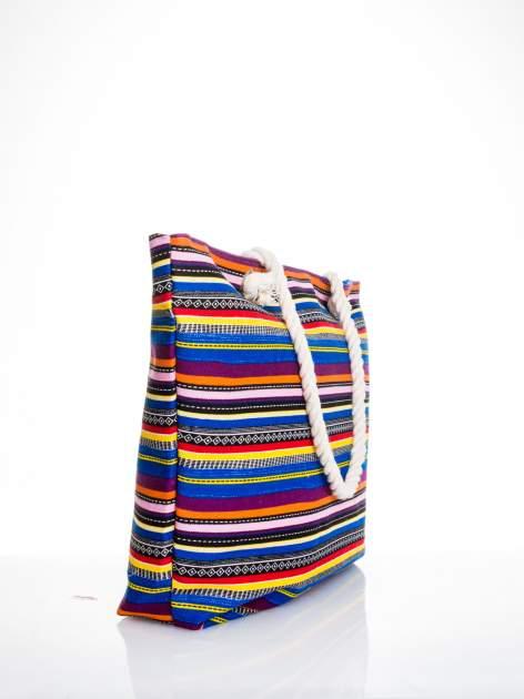 Kolorowa torba plażowa w paski                                  zdj.                                  3
