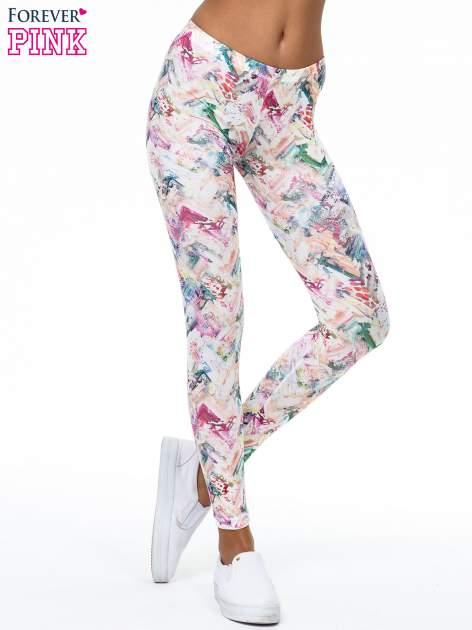 Kolorowe legginsy z pastelowym nadrukiem                                  zdj.                                  1