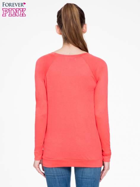 Koralowa bawełniana bluzka z rękawami typu reglan                                  zdj.                                  4