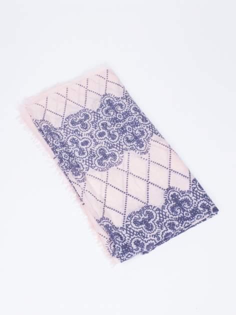 Koralowa bawełniana chustka w orientalny wzór                                  zdj.                                  3