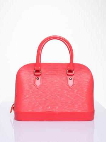 Koralowa fakturowana torba gumowa kuferek z rączką                                  zdj.                                  1