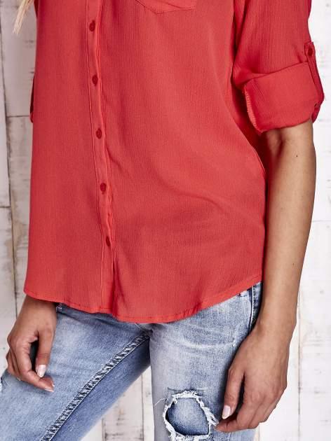Koralowa koszula damska z haftem na ramionach                                  zdj.                                  7