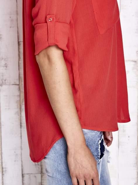 Koralowa koszula z biżuteryjnym kołnierzykiem i kieszonkami                                  zdj.                                  9