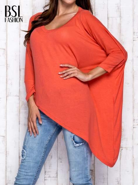 Koralowa melanżowa bluzka oversize                                  zdj.                                  1