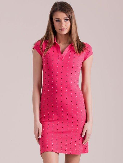 Koralowa sukienka polo w serduszka                              zdj.                              1