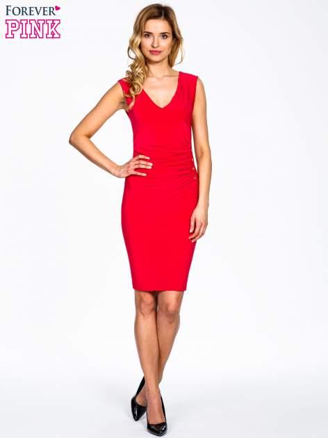 Koralowa sukienka z drapowaniem                                  zdj.                                  2