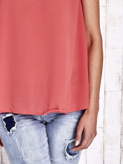 Koralowa zwiewna koszula z dłuższym tyłem                                  zdj.                                  7