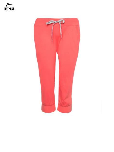 Koralowe spodnie sportowe typu capri wiązane w pasie                                  zdj.                                  5