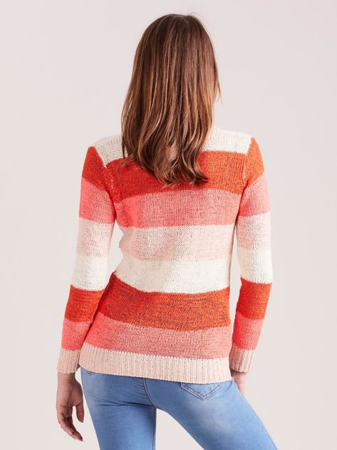 Koralowo-różowy sweter w pasy                              zdj.                              2